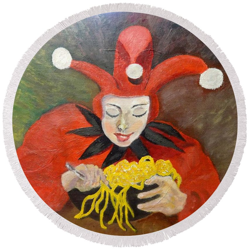 Portrait. Jester In Red At The Table. Bowl Of Spaghetti. Round Beach Towel featuring the painting Jester And Spaghetti by Irina Stroup