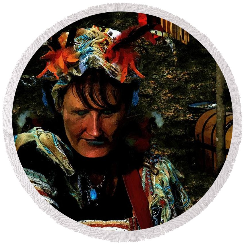 Jester Round Beach Towel featuring the painting Jester Somnolent by RC DeWinter