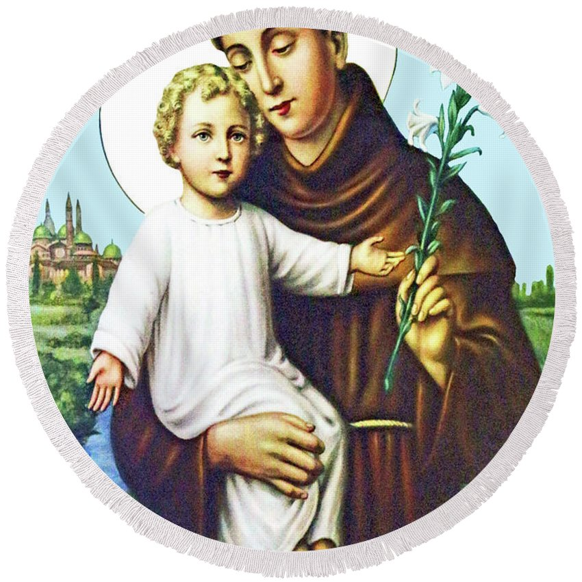 St Anthony Round Beach Towel featuring the painting Jesus And Saint Anthony by Munir Alawi