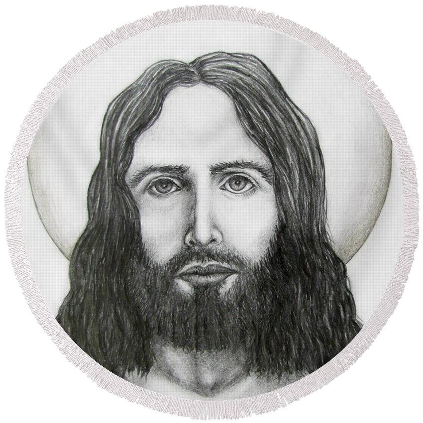 Michael Round Beach Towel featuring the drawing Jesus Christ by Michael TMAD Finney