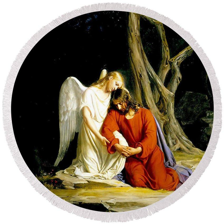 Carl Heinrich Bloch Round Beach Towel featuring the painting Jesus In Gethsemane by Carl Heinrich Bloch