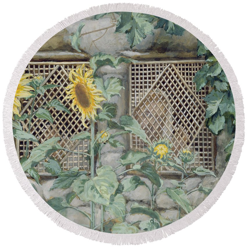 Jesus Looking Through A Lattice With Sunflowers Round Beach Towel featuring the painting Jesus Looking Through A Lattice With Sunflowers by Tissot