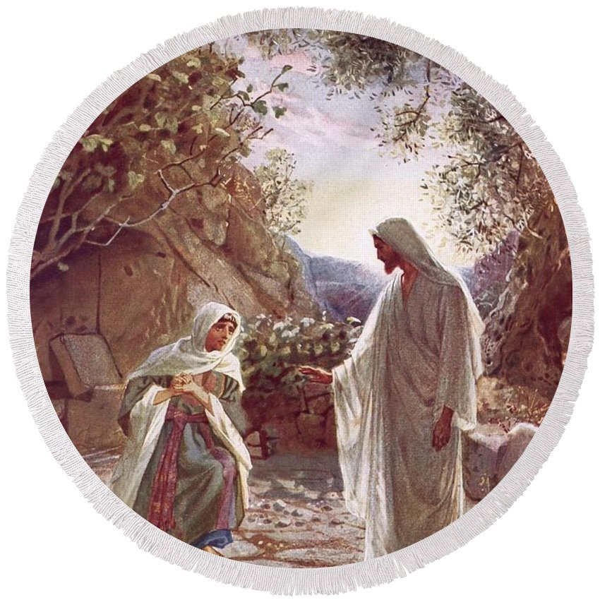 Bible; Jesus Christ; Revealing Himself; Resurrection; Mary Magdalene Round Beach Towel featuring the painting Jesus Revealing Himself To Mary Magdalene by William Brassey Hole