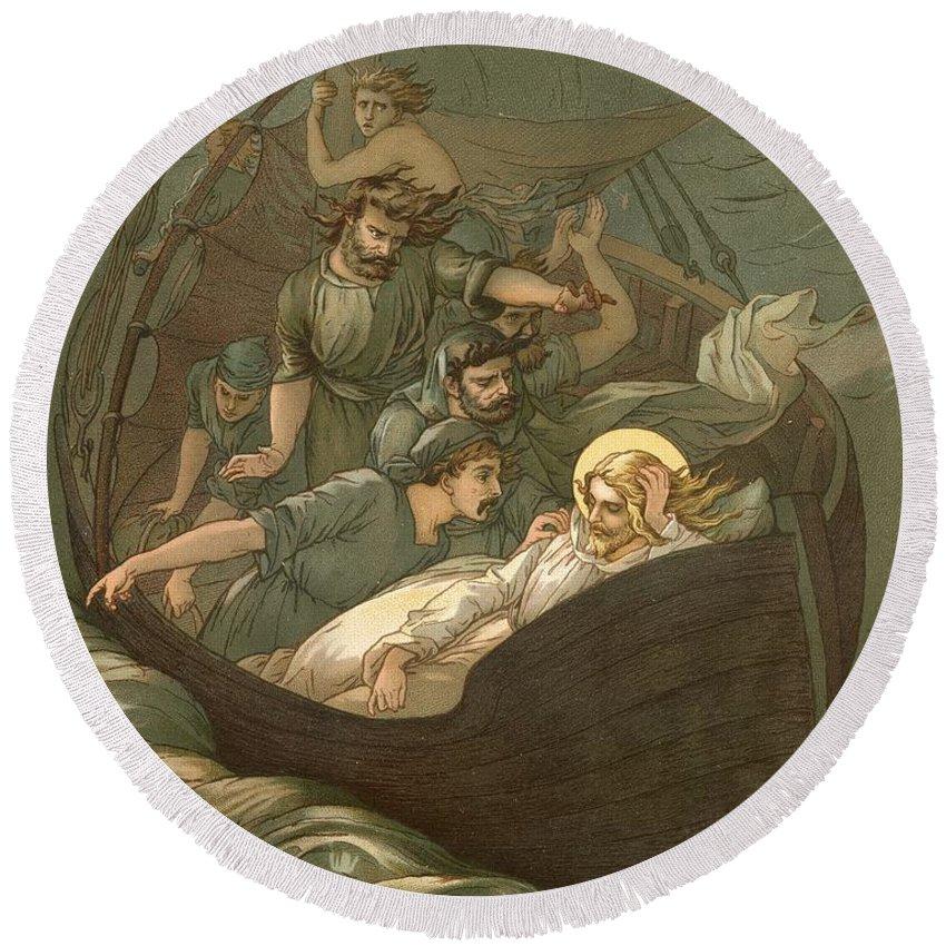 Bible; Jesus Christ; Sleeping; Rest; Storm; Boat; Sea Of Galilee; Big Waves Round Beach Towel featuring the painting Jesus Sleeping During The Storm by John Lawson