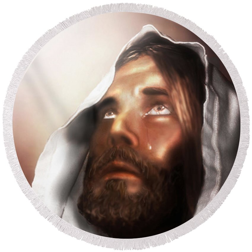 Jesus Round Beach Towel featuring the mixed media Jesus Wept by Mark Spears
