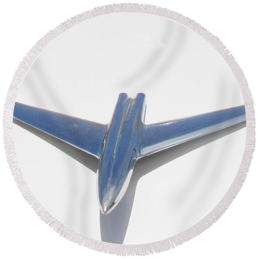 Jets Round Beach Towel featuring the photograph Jet Car Hood Ornament by John Malone