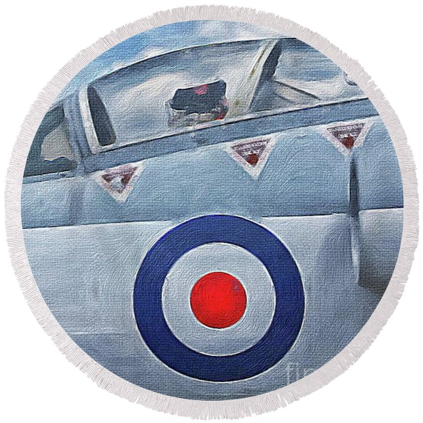 Fighter Round Beach Towel featuring the painting Jet Fighter By John Springfield by John Springfield