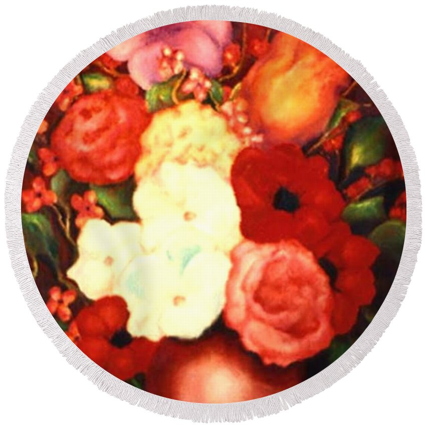 Flowers Round Beach Towel featuring the painting Jewel Flowers by Jordana Sands
