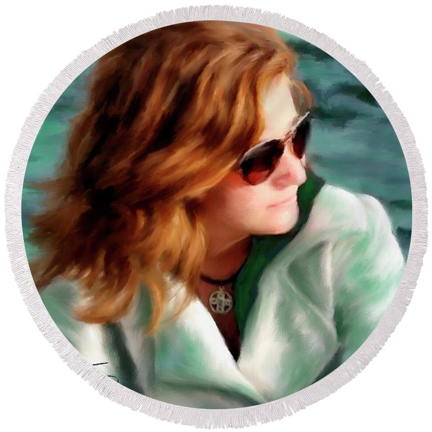 Red Head Round Beach Towel featuring the painting Jewel Of Contemplation by Colleen Taylor