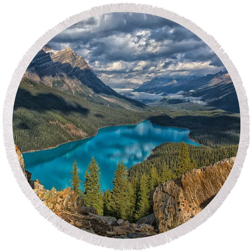 Peyto Lake Round Beach Towel featuring the photograph Jewel Of The Rockies by Philip Kuntz