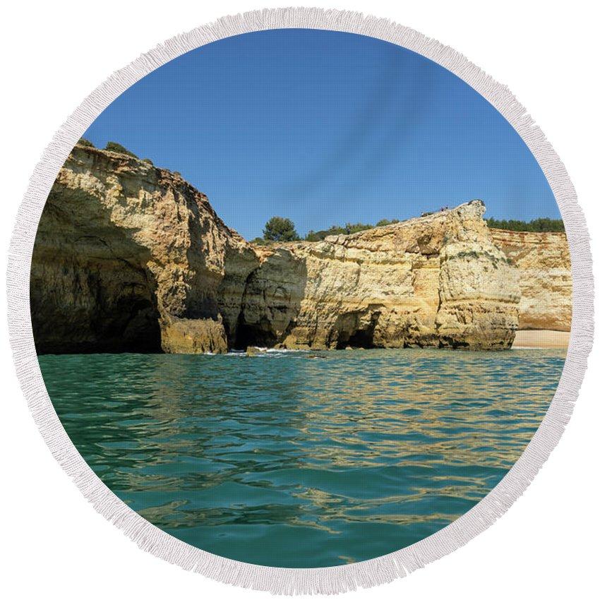 Georgia Mizuleva Round Beach Towel featuring the photograph Jewel Toned Ocean Art - Gliding By Sea Caves And Secluded Beaches by Georgia Mizuleva