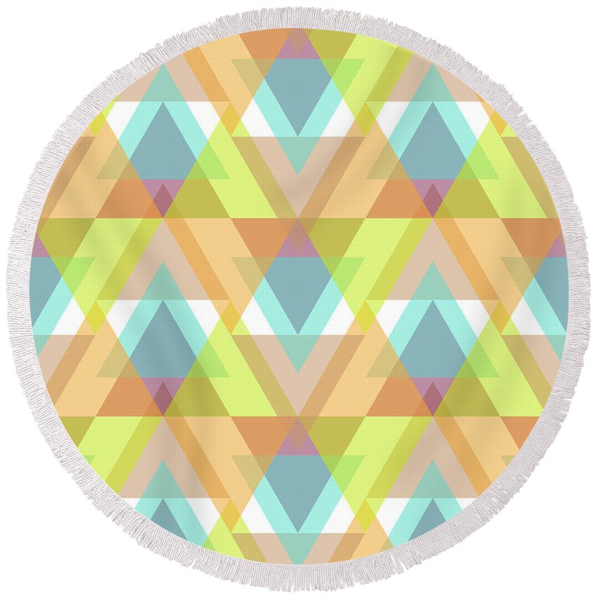 Contemporary Round Beach Towel featuring the digital art Jeweled by SharaLee Art