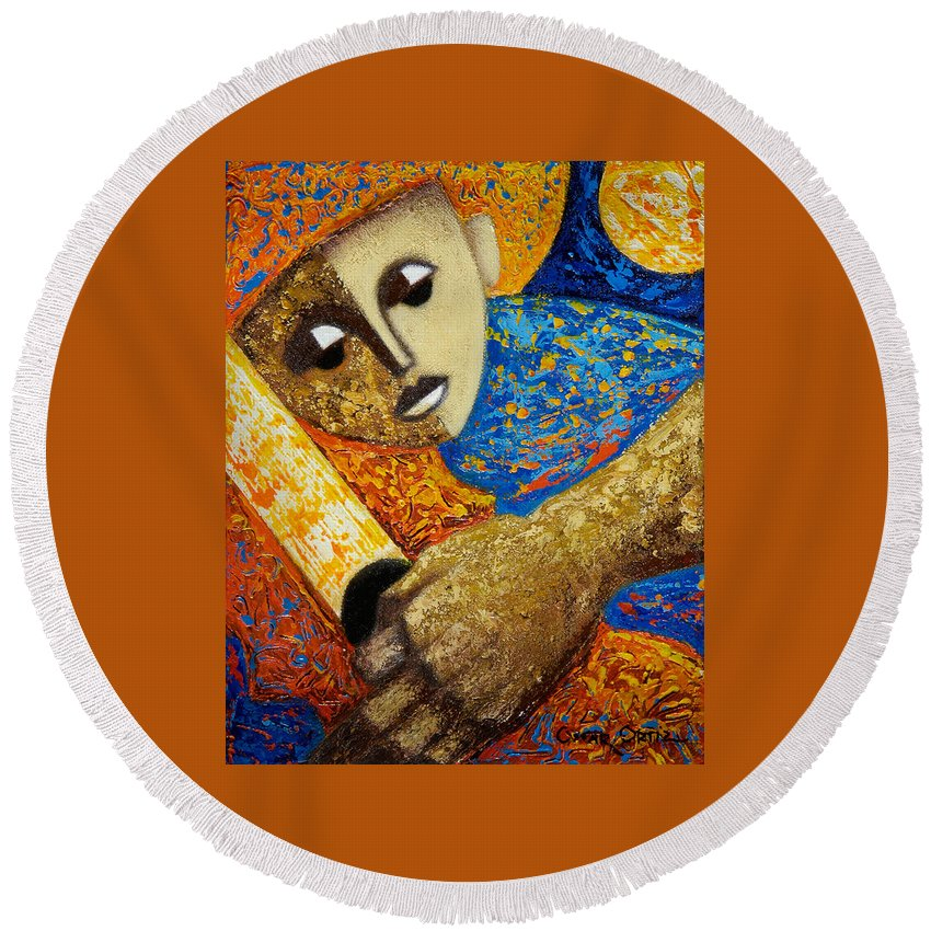Color Round Beach Towel featuring the painting Jibaro Y Sol by Oscar Ortiz