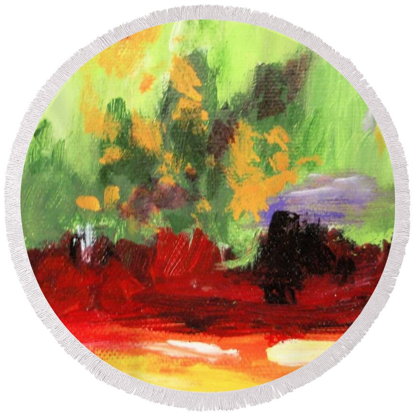 Abstract Round Beach Towel featuring the painting Jill's Abstract by Jamie Frier