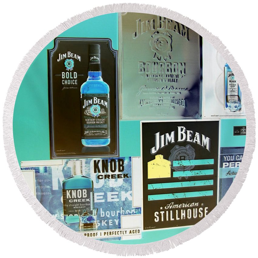Color Invert Round Beach Towel featuring the digital art Jim Beam Signs On Display - Color Invert by Marian Bell