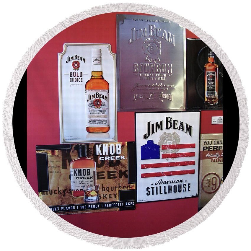 Jim Beam Round Beach Towel featuring the digital art Jim Beam Signs On Display by Marian Bell