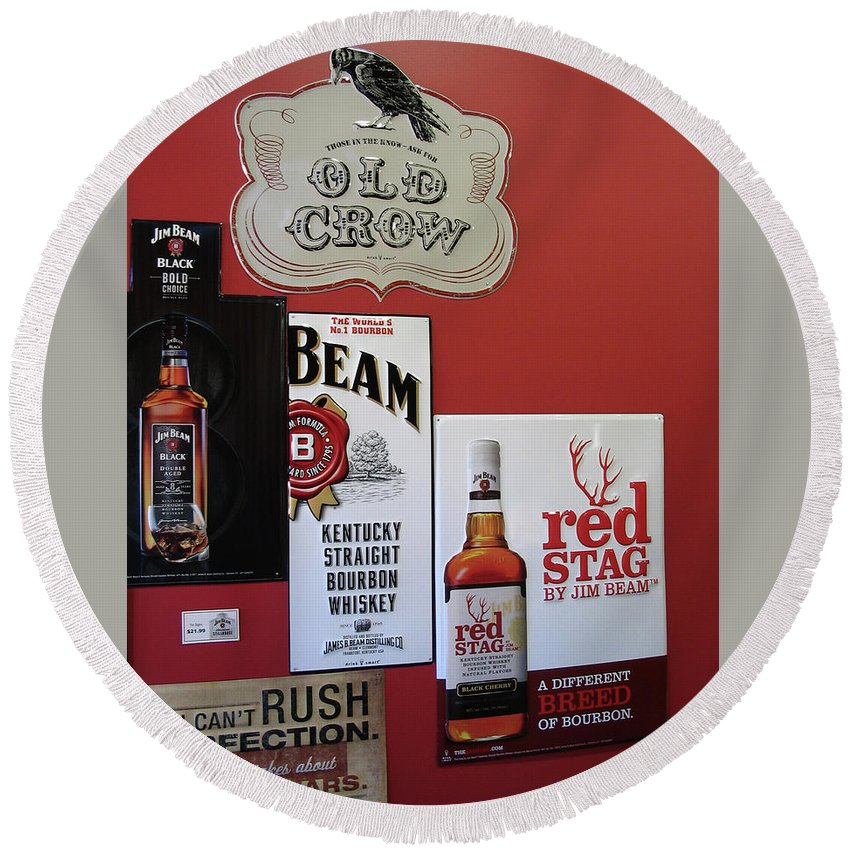 Jim Beam Round Beach Towel featuring the digital art Jim Beam's Old Crow And Red Stag Signs by Marian Bell