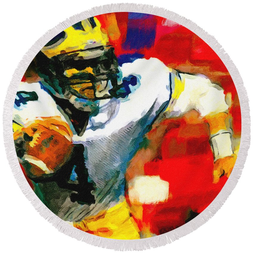 Jim Harbaugh Round Beach Towel featuring the painting Jim Harbaugh I Guarantee by John Farr