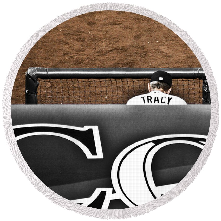 Americana Round Beach Towel featuring the photograph Jim Tracy Rockies Manager by Marilyn Hunt