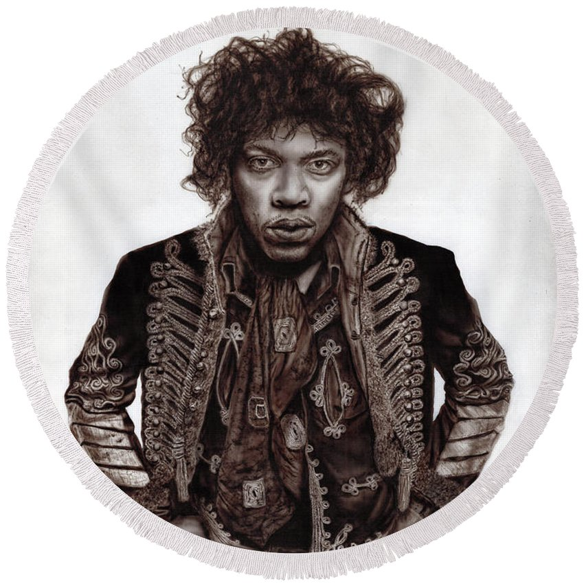 Jimi Hendrix Round Beach Towel featuring the painting Jimi Hendrix - Are You Experienced. by Alex Artman