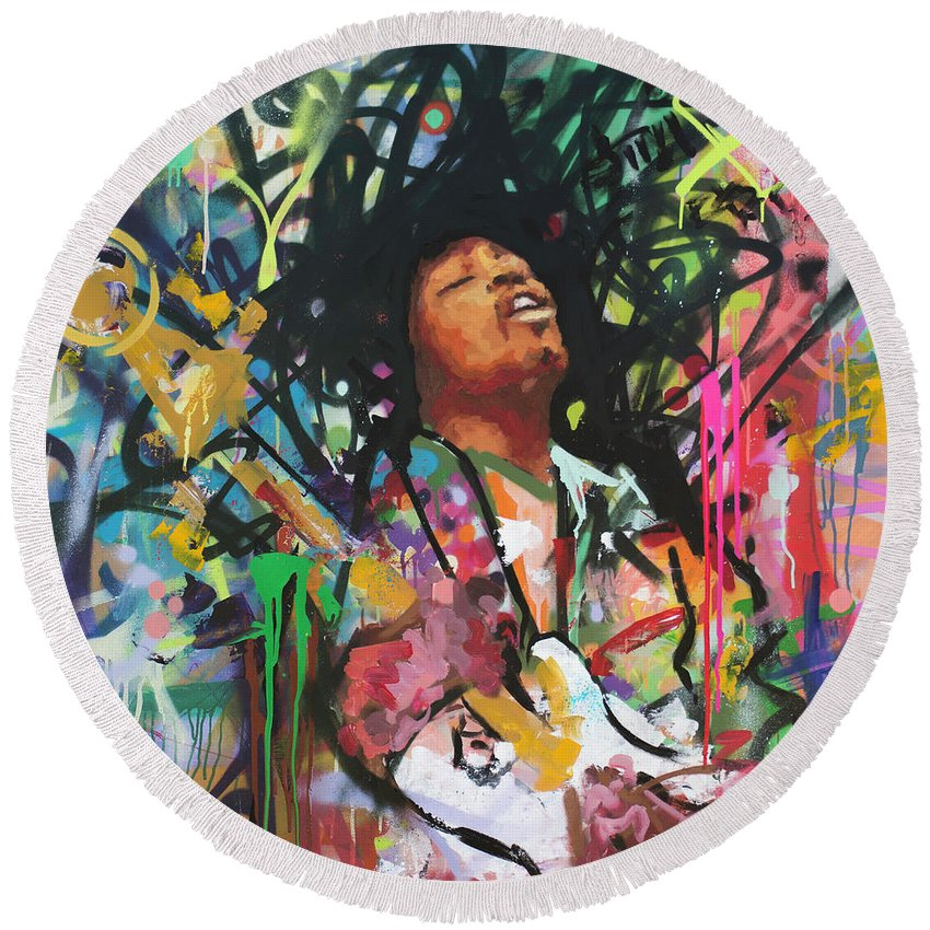 Jimi Round Beach Towel featuring the painting Jimi Hendrix IIi by Richard Day