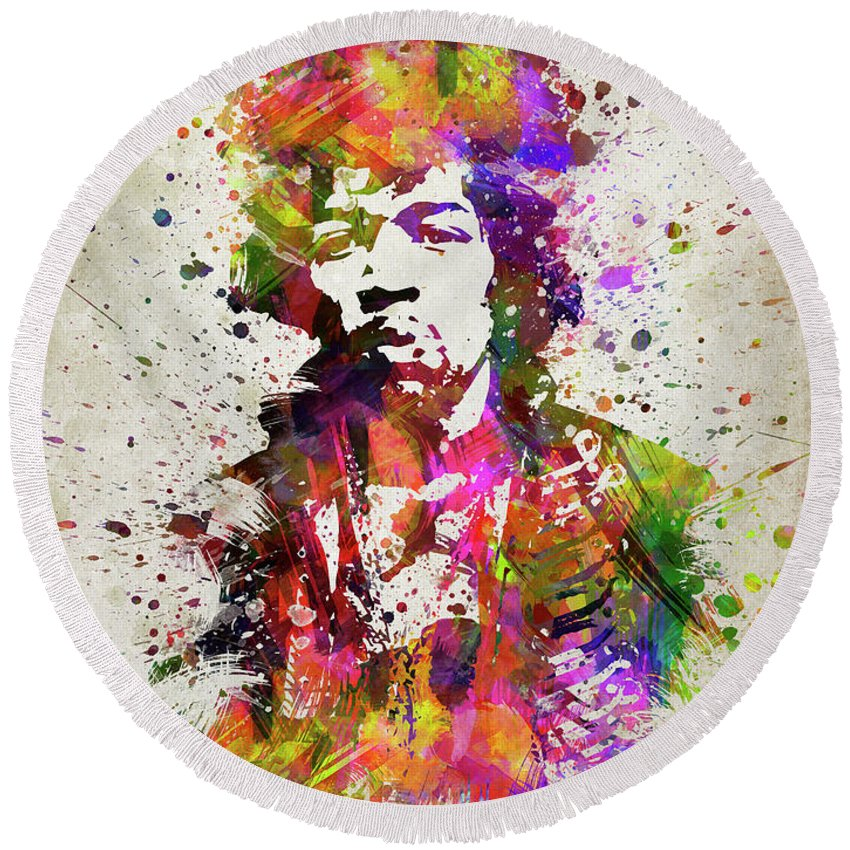 Jimi Hendrix Round Beach Towel featuring the digital art Jimi Hendrix In Color by Aged Pixel