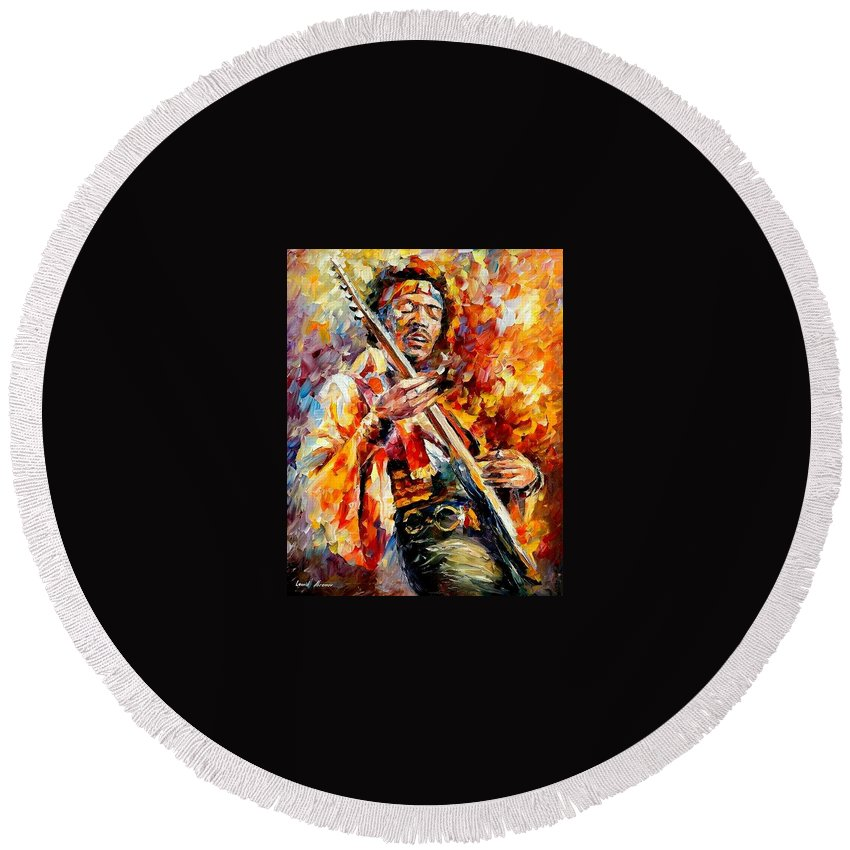 Music Round Beach Towel featuring the painting Jimi Hendrix by Leonid Afremov