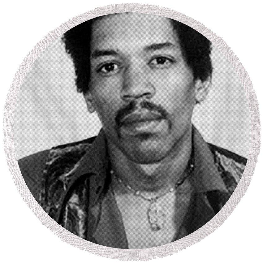 Jimi Hendrix Round Beach Towel featuring the painting Jimi Hendrix Mug Shot Vertical by Tony Rubino