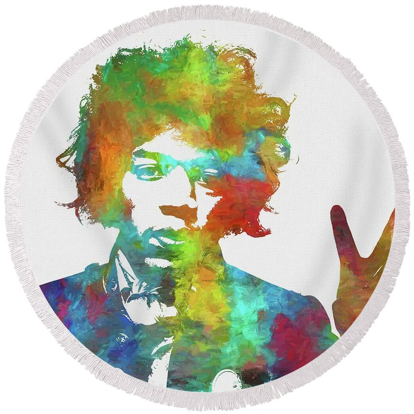 Jimi Round Beach Towel featuring the painting Jimi Hendrix Peace by Dan Sproul