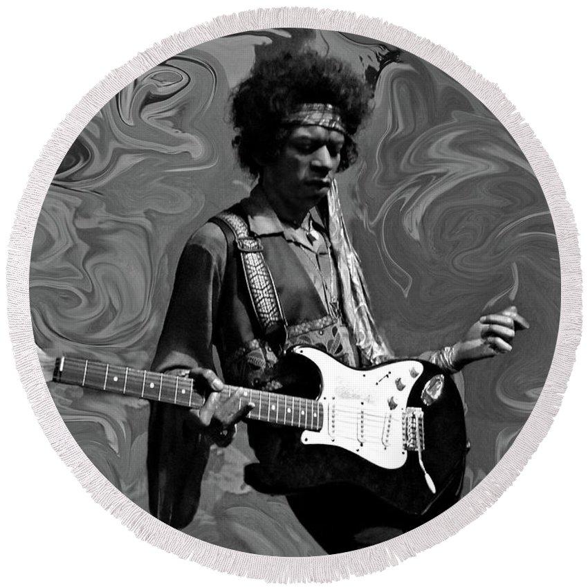 Jimi Hendrix Round Beach Towel featuring the photograph Jimi Hendrix Purple Haze B W by David Dehner