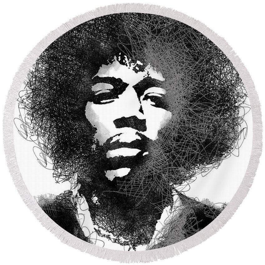 Jimi Hendrix Round Beach Towel featuring the digital art Jimi Hendrix sketch pen portrait by Mihaela Pater