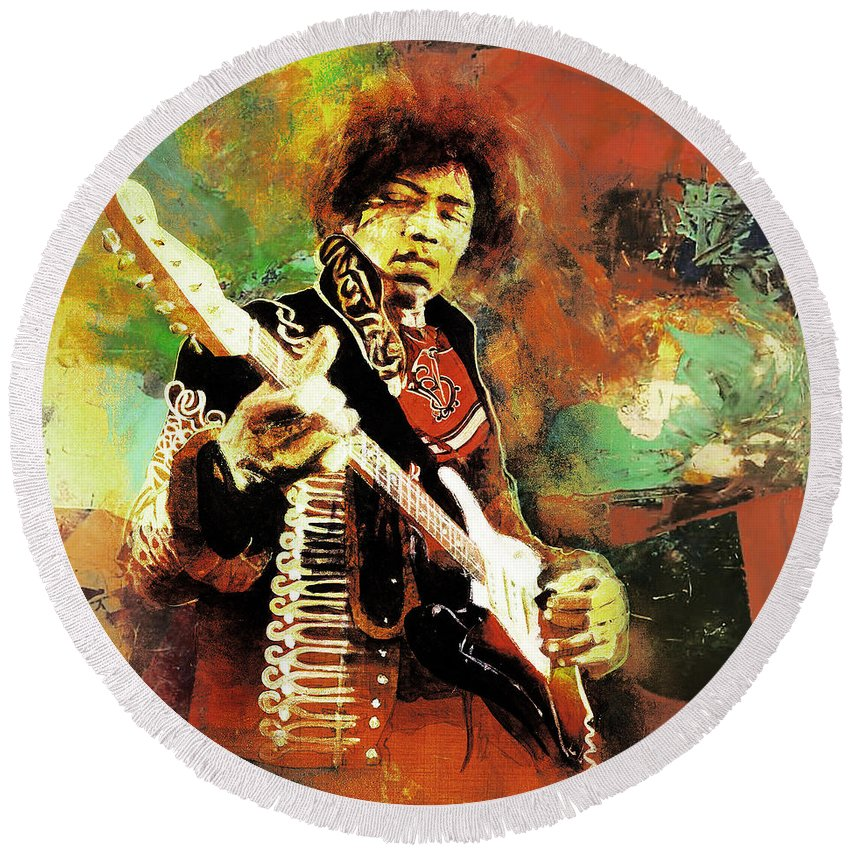 Guitar Round Beach Towel featuring the painting Jimi Hendrix The Legend 01 by Gull G
