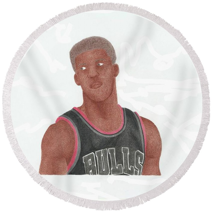 Basketball Round Beach Towel featuring the drawing Jimmy Butler by Toni Jaso