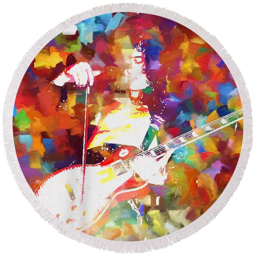 Jimmy Page Round Beach Towel featuring the painting Jimmy Page Jamming by Dan Sproul