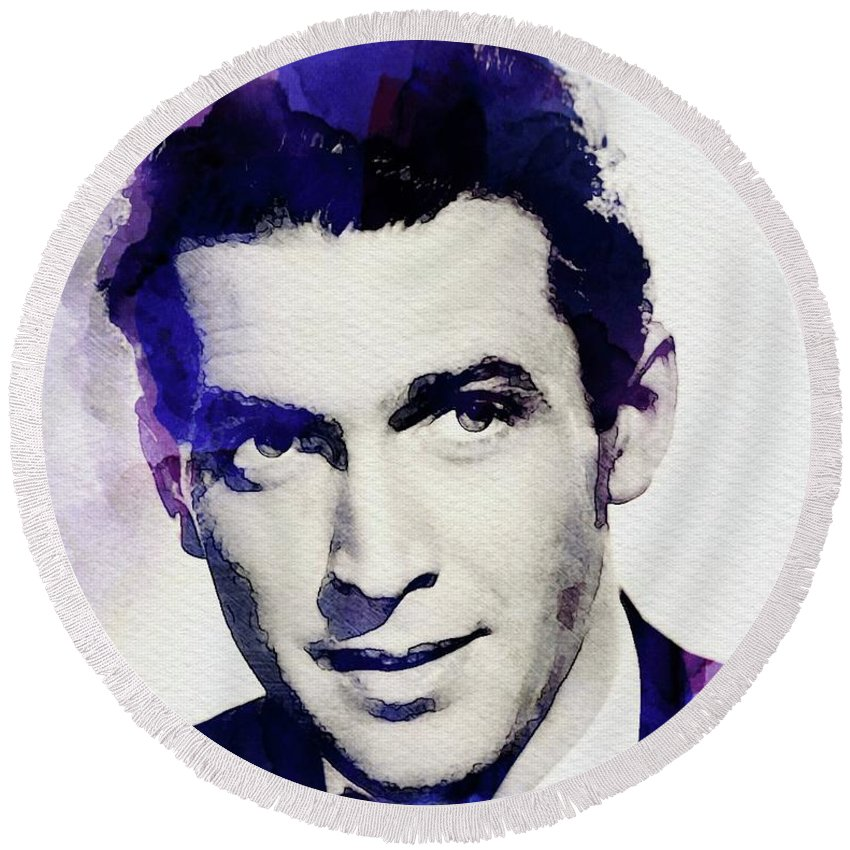 Jimmy Round Beach Towel featuring the digital art Jimmy Stewart, Vintage Actor by John Springfield