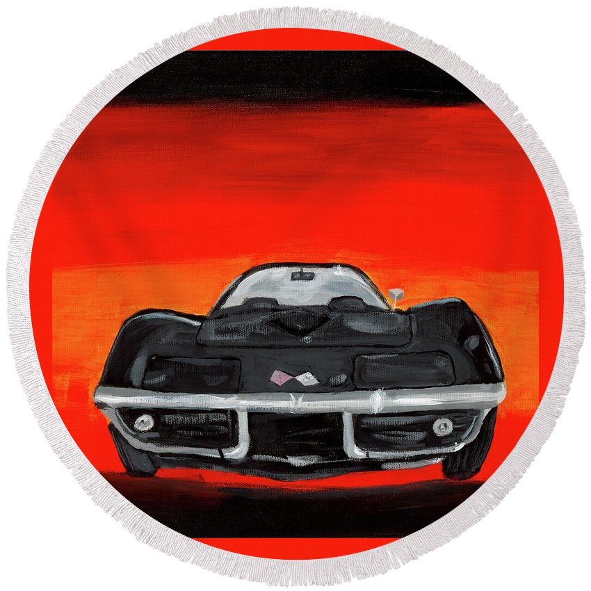 Car Round Beach Towel featuring the painting Jim's Vette by Terry MacDonald