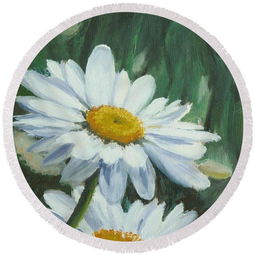 Daisy Round Beach Towel featuring the painting Joe's Daisies by Lea Novak