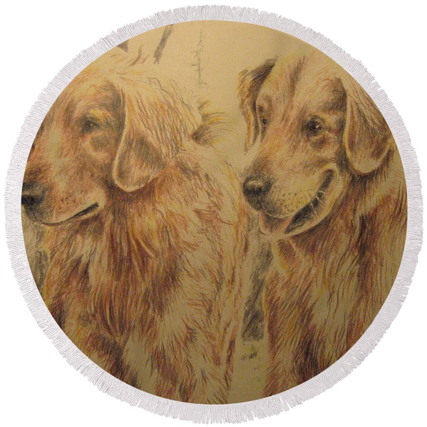 Dogs Round Beach Towel featuring the drawing Joe's Dogs by Larry Whitler