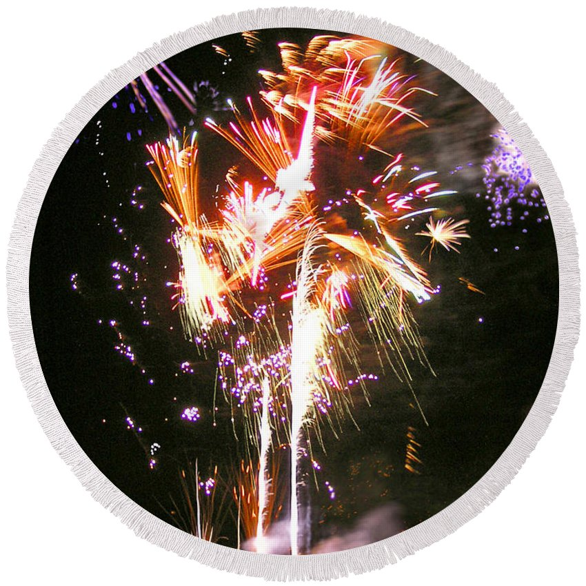Joe Round Beach Towel featuring the photograph Joe's Fireworks Party 2 by Charles Harden