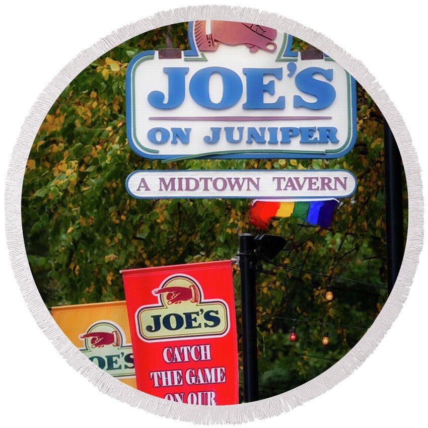 Joe's On Juniper Round Beach Towel featuring the photograph Joe's On Juniper by Doug Sturgess