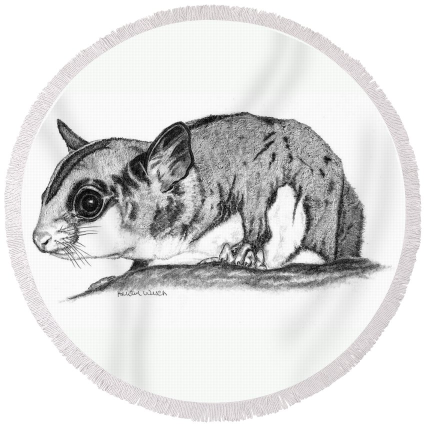 Sugar Glider Round Beach Towel featuring the drawing Joey by Kristen Wesch