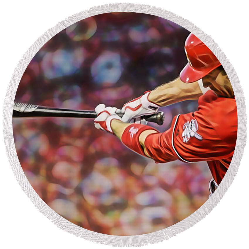 Joey Votto Round Beach Towel featuring the mixed media Joey Votto Baseball by Marvin Blaine