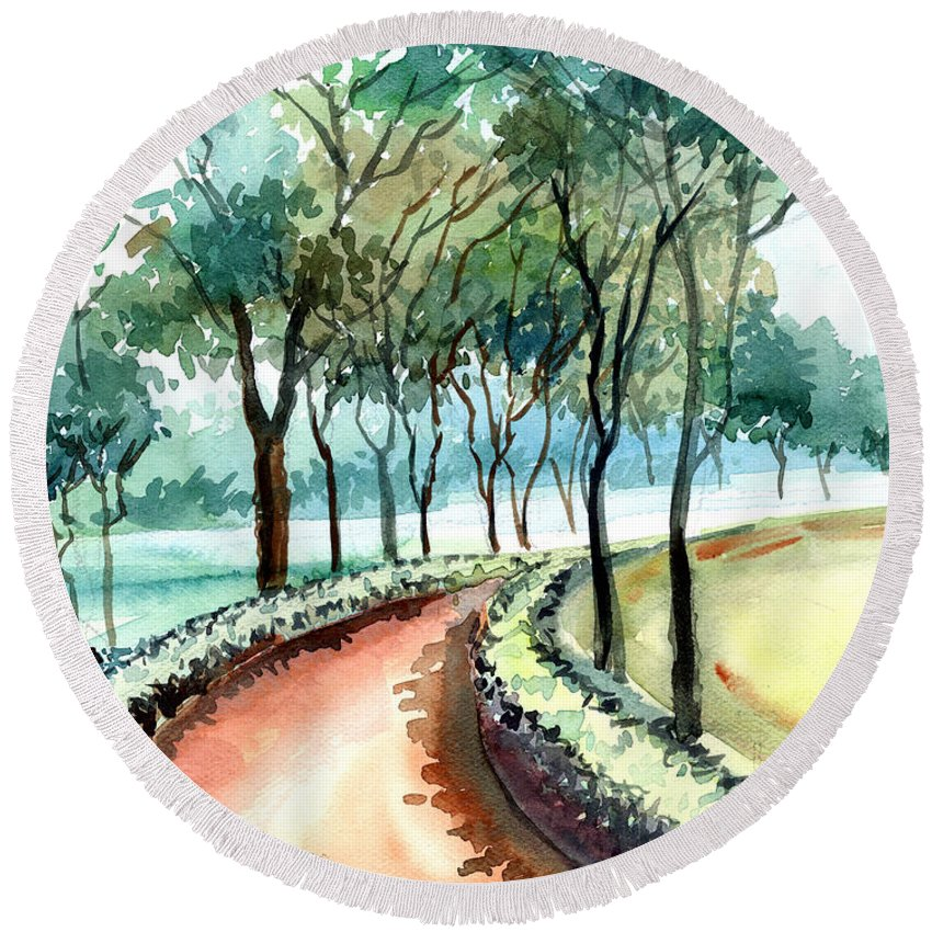 Landscape Round Beach Towel featuring the painting Jogging Track by Anil Nene