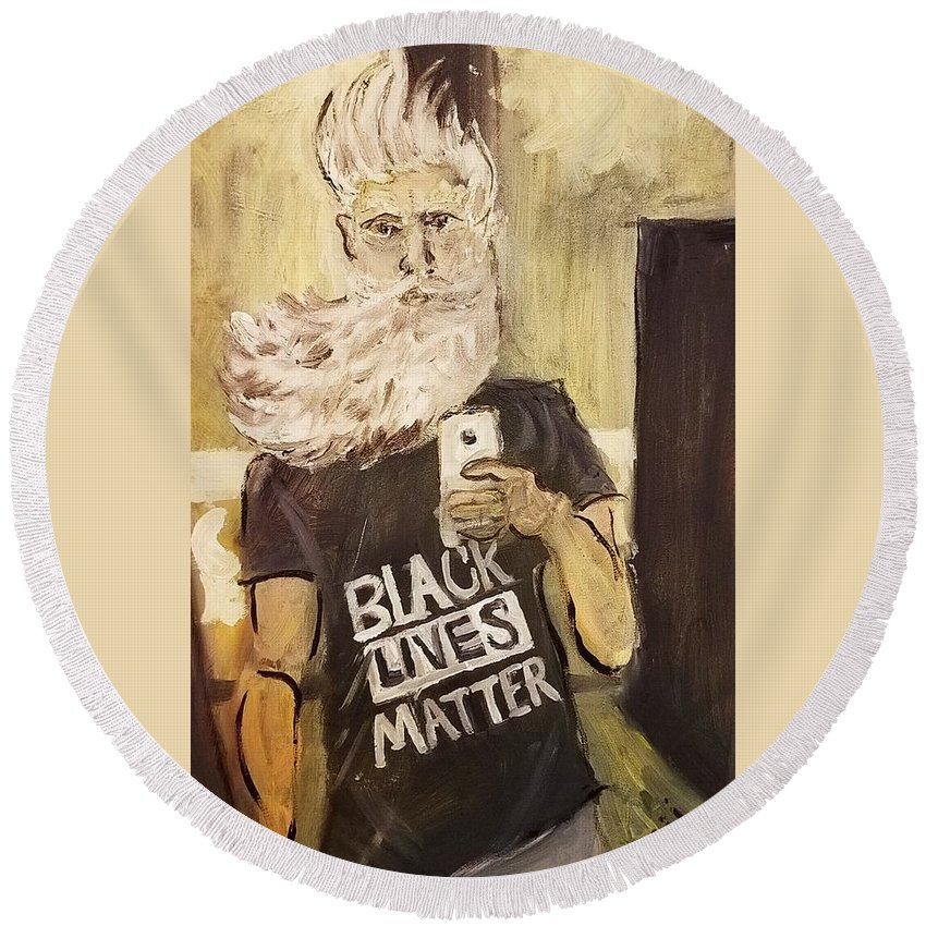 John Brown Round Beach Towel featuring the painting John Brown Selfie by Nell King