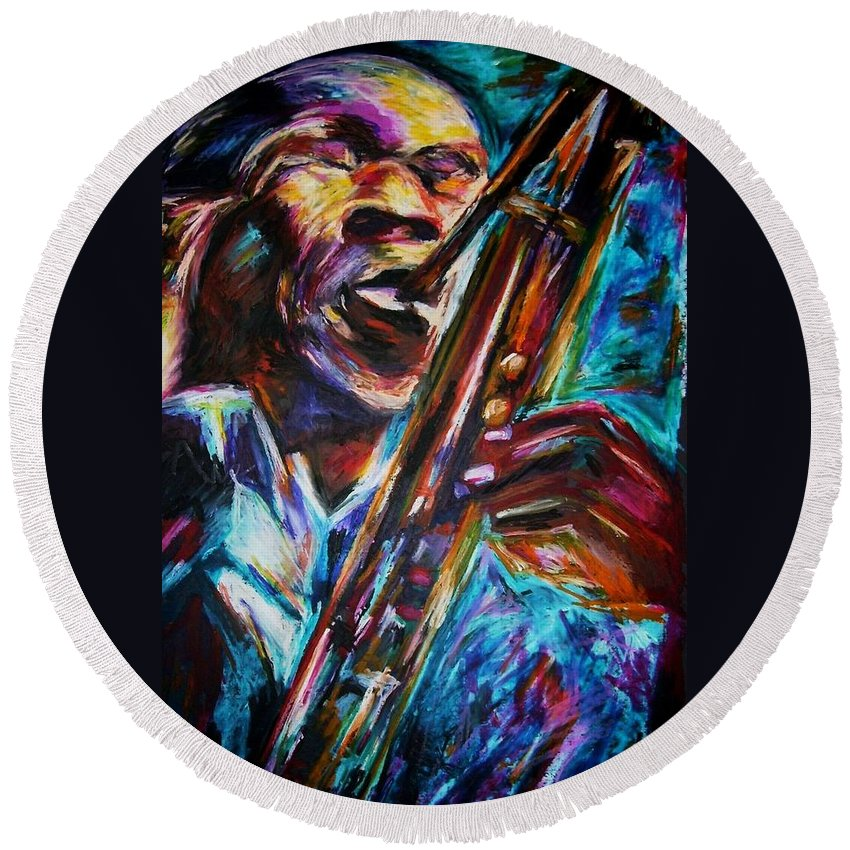 Jazz Round Beach Towel featuring the painting John Coltrane by Frances Marino