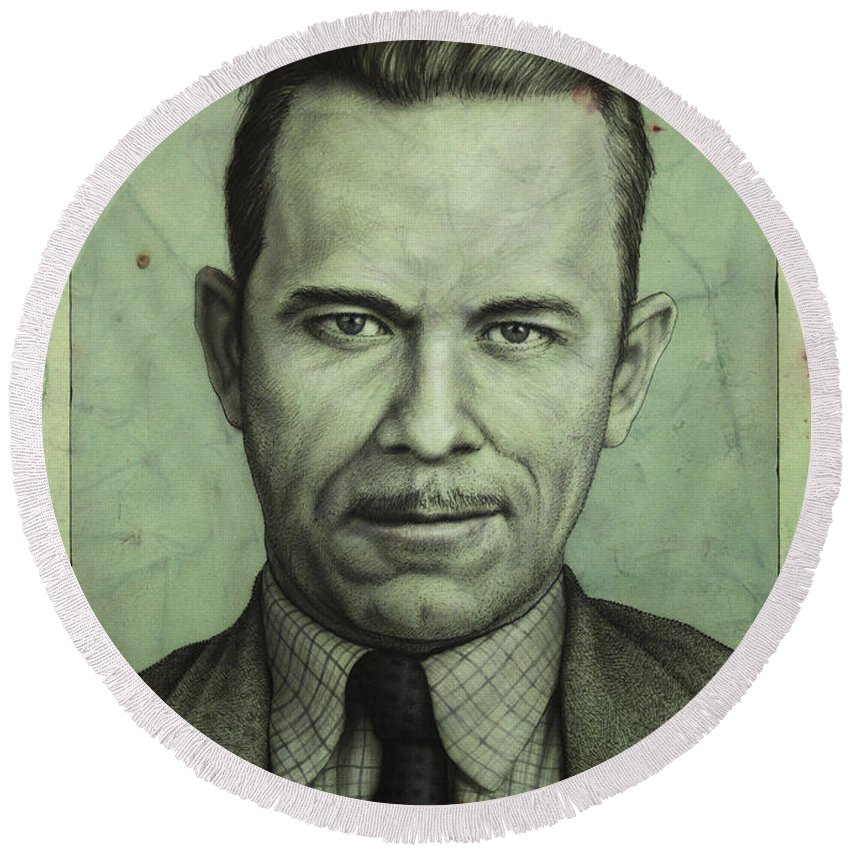 John Dillinger Round Beach Towel featuring the painting John Dillinger by James W Johnson