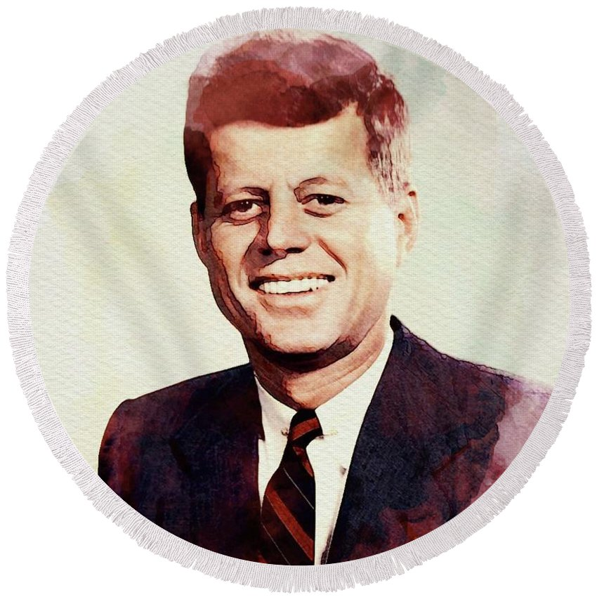 Jfk Round Beach Towel featuring the digital art John F. Kennedy by John Springfield