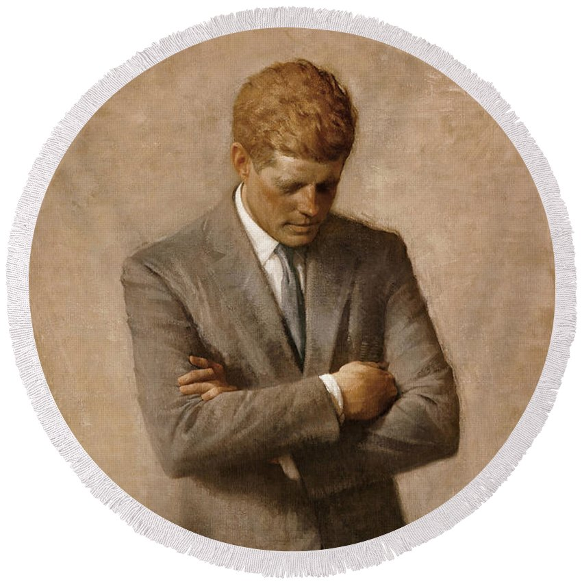 Jfk Round Beach Towel featuring the painting John F Kennedy by War Is Hell Store