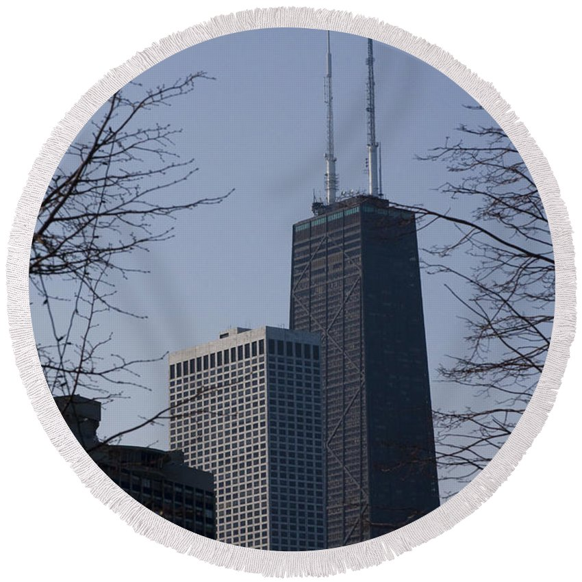 John Hancock Center Building Tower Chicago Windy City Tall Skyscraper High Urban Metro Round Beach Towel featuring the photograph John Hancock Center by Andrei Shliakhau