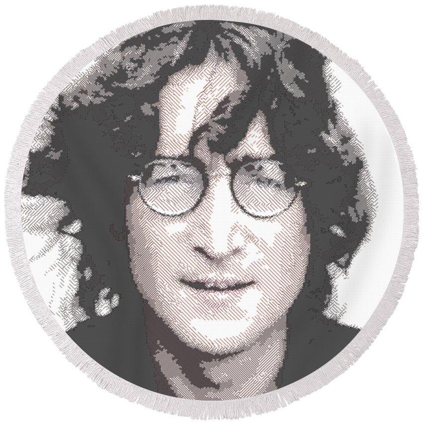 John Round Beach Towel featuring the drawing John Lennon - Parallel Hatching by Samuel Majcen